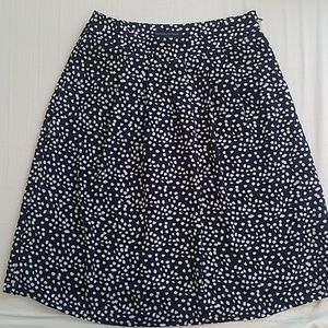 Banana Republic Navy and white dot A-line skirt